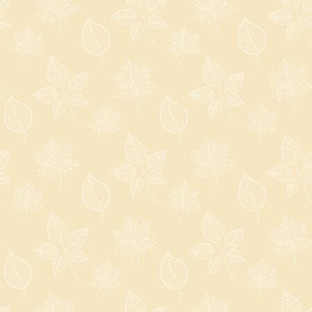 hojas de oto�o cayendo: Seamless patr�n de oto�o sobre un fondo de color beige: extracto de la hoja blanca, ca�da de las hojas, defoliaci�n, hojas de oto�o, las hojas que caen