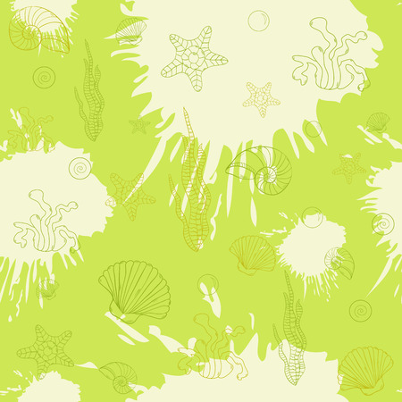 Marine algae and shells,seamless pattern on green blots ink background.Sea.Marine.  Vector