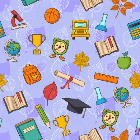 Seamless pattern Back to school on purple background with leaves,with:hat graduate, scroll, apple, books, flasks, basketball, alarm clock, briefcase, backpack, school bus, globe, ruler ,microscope Vector