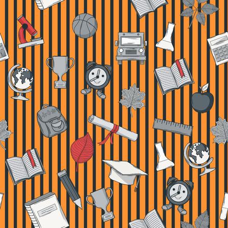seamless bacground: School seamless pattern on striped bacground Illustration