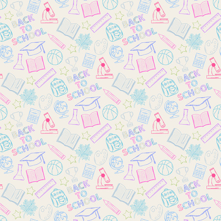 Neon Seamless pattern Back to schoolon a white background ,with:hat graduate, scroll, apple, books, flasks, basketball, alarm clock, briefcase, backpack, school bus, globe, ruler ,microscope Vector