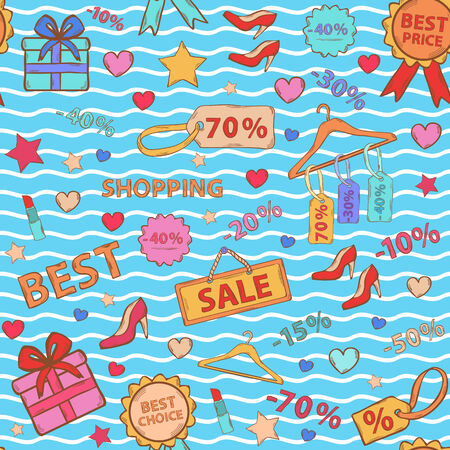 Pattern on shopping, themed design with different elements:sale,shoes ,heart gift,price tag,label,lipstick, discount Vector