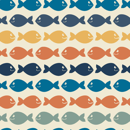 Color abstract fish pattern.Background.Vintage Wallpaper Vector