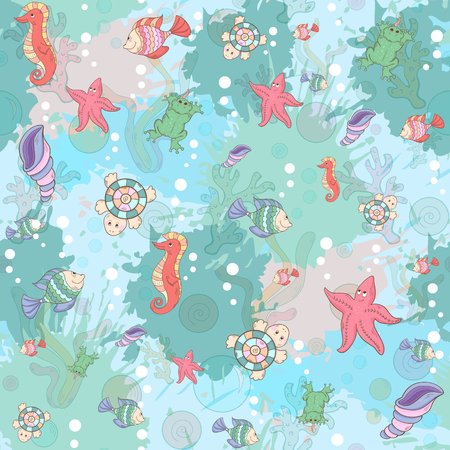 Seamless abstract marine life.Seamless pattern with sea inhabitants on the background color blots,inks. Vector illustration. Vector