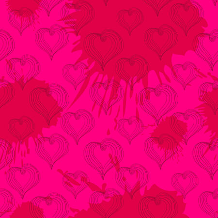 crimson: Seamless pattern with  Abstract Hearts on a crimson background