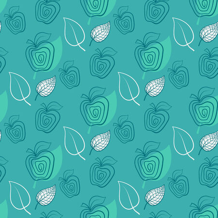 Seamless pattern with apple.Apple,green,leaf. Vector