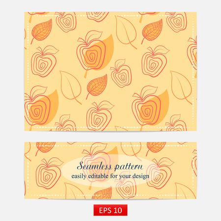 yellow apple: Fresh yellow apple. Seamless pattern. Apple,yellow,leaf. Illustration
