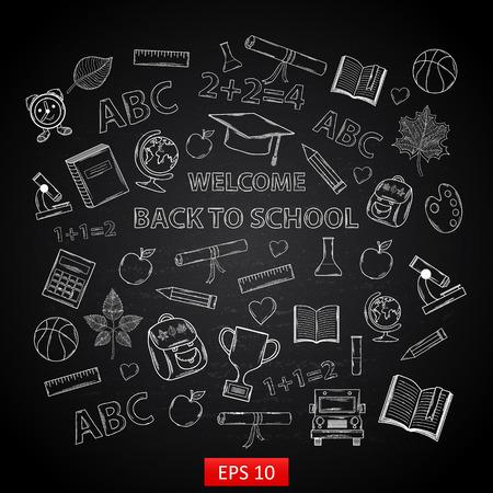 Back to school on chalk blackboard,with:hat graduate, scroll, apple, books, flasks, basketball, alarm clock, briefcase, backpack, school bus, globe, ruler ,microscope