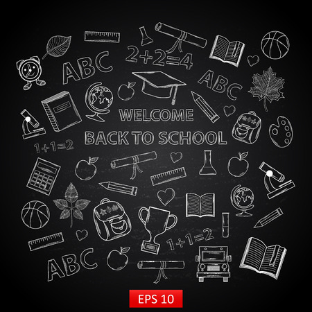 Back to school on chalk blackboard,with:hat graduate, scroll, apple, books, flasks, basketball, alarm clock, briefcase, backpack, school bus, globe, ruler ,microscope