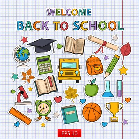 Back to school set on the notebook sheet.Scrapbook set.Sticker.With:hat graduate,scroll, apple,books,flasks, basketball,alarm clock, briefcase, backpack, school bus,globe,ruler,microscope Illustration