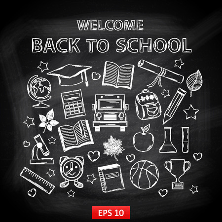 Chalk board Welcome back to school,with thematic elements:school bus,chemical flasks,apple,cup,gr aduate cap,pencil,book,mic roscope,alarm clock,autumn leaves,globe,a scroll,a ruler,a basketball Illustration