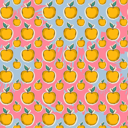 yellow apple: Big yellow apple pattern on color blots ink