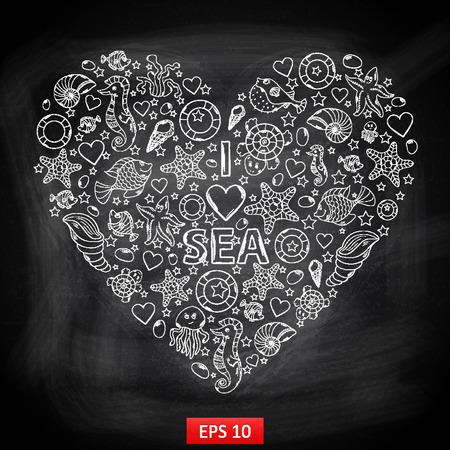 "Chalk board I love Sea in the form of heart,with a variety of marine life:fish,sea horse,jellyfish,sta rfish,seaweed,coral ,turtle,sea urchin,shells,lifebuoy in the shape of heart with text ""I love sea"" Vektoros illusztráció"