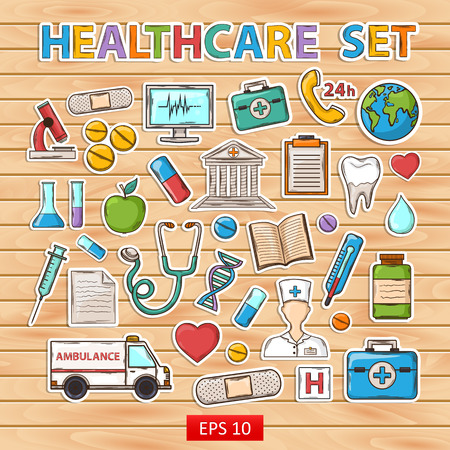 Healthcare doodle set.Sticker.With:thermometer stethoscope tablet capsule apple ambulance syringe tooth medical card Hospital Medical plaster phone computer microscope flask sheet appointment Vector