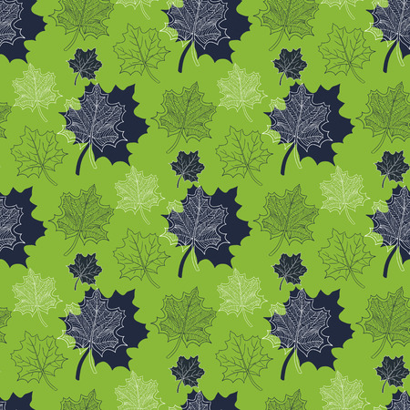 defoliation: Seamless Autumn pattern:abstract green leaf,leaf fall,defoliation,autumn leaves,falling leaves Illustration