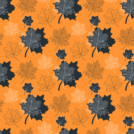 defoliation: Seamless Autumn pattern:abstract orange leaf,leaf fall,defoliation,autumn leaves,falling leaves