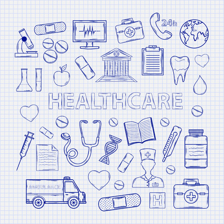 nurse: Health care set on the notebook sheet.With:thermome ter stethoscope tablet capsule apple ambulance syringe tooth medical card Hospital Medical plaster phone computer microscope flask sheet appointment