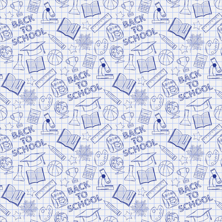 Seamless pattern with school elements on the notebook sheet Vector