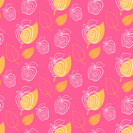 Seamless pattern with apple.Apple,pink,leaf. Vector