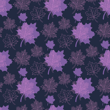 defoliation: Seamless Autumn pattern:abstract purple and pink leaf,leaf fall,defoliation,autumn leaves,falling leaves Illustration