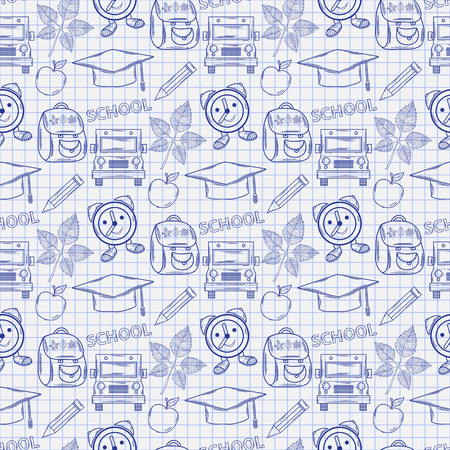 Seamless school pattern with varios elements on the notebook sheet Vector