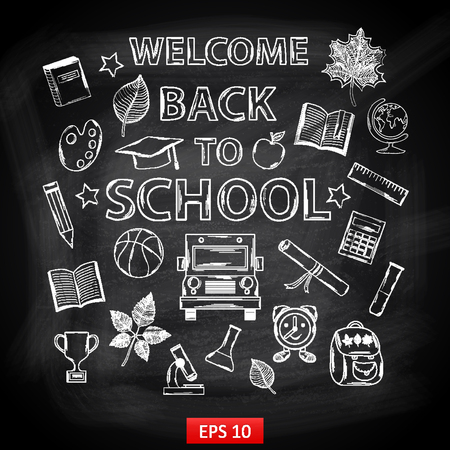 Chalk board Welcome back to school,with thematic elements:school bus,chemical flasks,apple,cup,graduate cap,pencil,book,microscope,alarm clock,autumn leaves,globe,a scroll,a ruler,a basketball Vector
