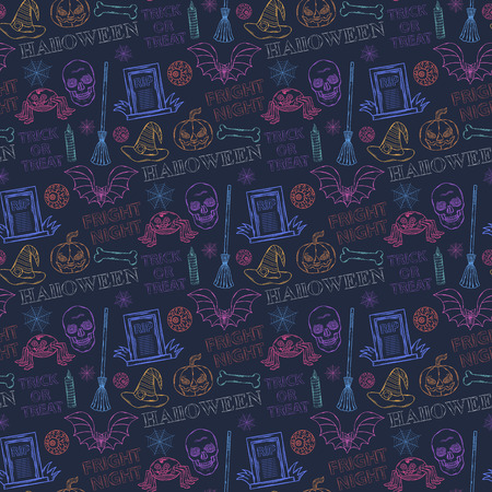 sinister: Seamless colorful pattern with Halloween themed elements: a sinister spider,bat,broom witch,candle, pumpkin, tombstone,grave, eyes,spider web, skull, witch hat on a dark background with text