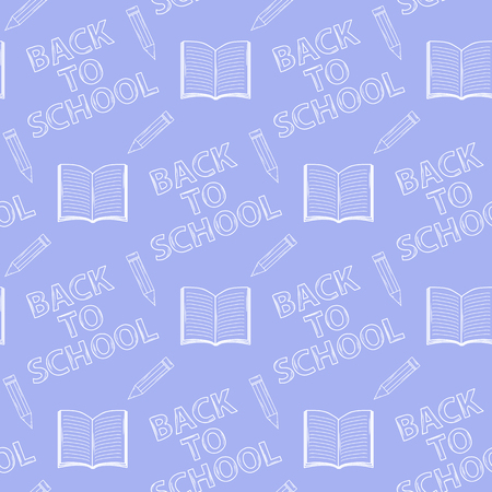 Seamless pattern Back to school on purple background with: books or a notebook, pencil Vector
