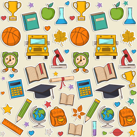 Sticker school pattern, with different elements:hat graduate,scroll, apple,books,flasks, basketball,alarm clock, briefcase, backpack, school bus,globe,ruler,microscope Vector