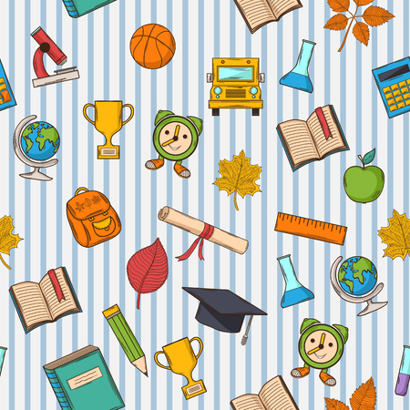 School pattern on striped blue  and white background Vector