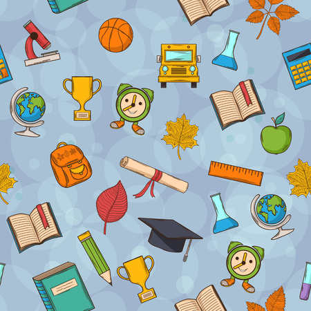 Seamless pattern Back to school on gray background with boobles,with:hat graduate, scroll, apple, books, flasks, basketball, alarm clock, briefcase, backpack, school bus, globe, ruler ,microscope Vector