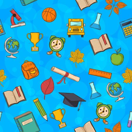 fondo de graduacion: Patr�n transparente Volver a la escuela sobre fondo azul con boobles, con: Graduado de sombrero, de desplazamiento, de manzana, libros, frascos, baloncesto, despertador, malet�n, mochila, autob�s escolar, globo, regla, microscopio Vectores