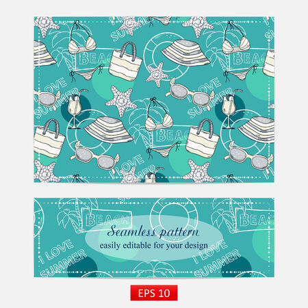 Summer pattern, design with themed elements: swimsuit,camera, ball,palm,cocktail, shell,lifebuoy,beach bag,hat,sunscreen, sunglasses,ice cream, starfish Vector