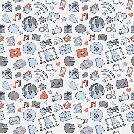 Blue,grey,red Sticker mobile apps pattern:music chat gallery speaking bubble email magnifying glass shopping search notebook laptop cloud wireless hand 矢量图像