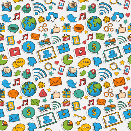 Color Sticker mobile apps pattern:music chat gallery speaking bubble email magnifying glass shopping search notebook laptop cloud wireless hand Vector