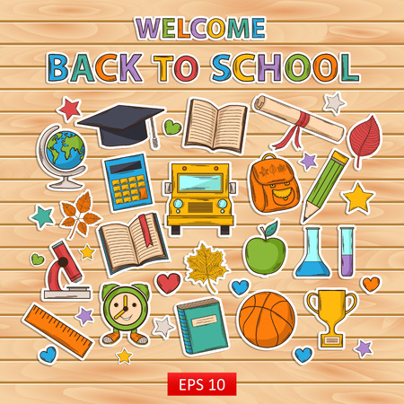 Back to school set.Scrapbook set.Sticker.Themed design with different elements:hat graduate,scroll, apple,books,flasks, basketball,alarm clock, briefcase, backpack, school bus,globe,ruler,microscope Vector