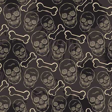 Seamless skull pattern with bone Illustration