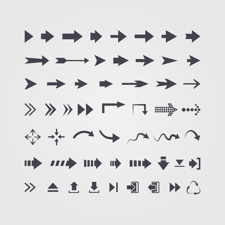 Vector set of different vector black arrows isolated