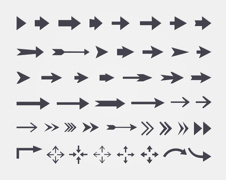 set of different arrows isolated on white background