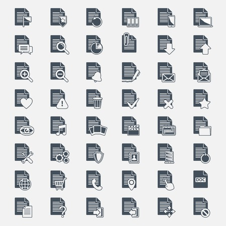 Vector big set Document File icons isolated Vector