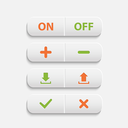 Vector realistic  white web buttons  on ,off,plus,minus, add, cancel, download and send the arrow marks,Yes, No checkmark over white Vector