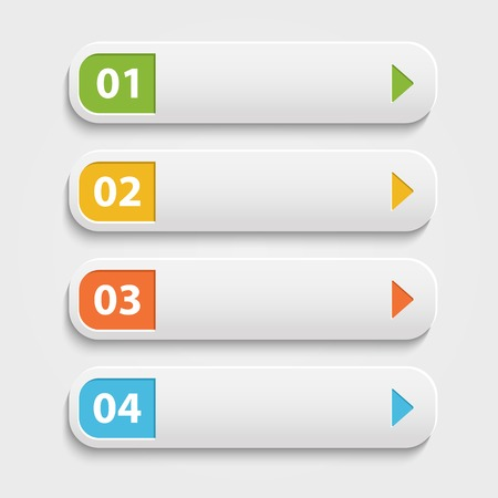 number button: Vector  realistic Web buttons,infographic with numbers over white Illustration
