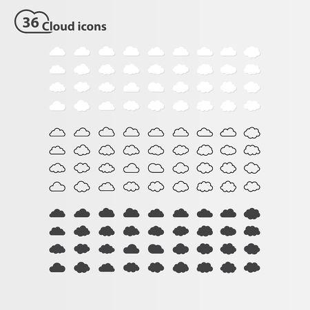 Big vector set of thirty-six cloud shape Vector