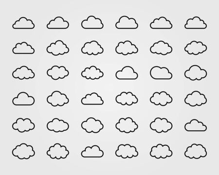 Big vector set of thirty-six cloud shapes, cloud icons for web and app, for cloud computing and so on