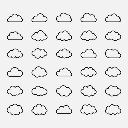 Big vector set black cloud shapes, cloud icons for web and app, for cloud computing and so on over white Illustration