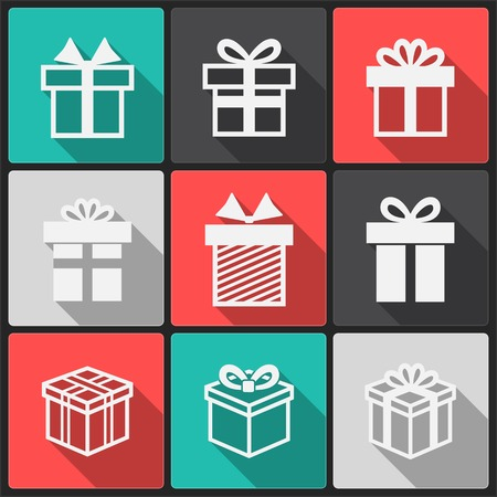 Vector Gift box white icons on a color square