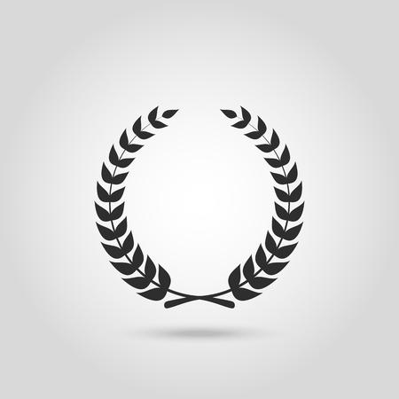 distinction: Black laurel silhouette foliate circular laurel wreath depicting an award achievement quality winner heraldry wreath isolated  vector