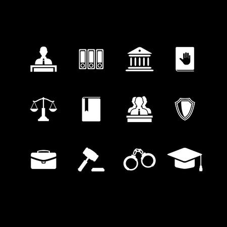 prosecutor: Set di diritto e della giustizia icone nere con un giudice giurati valigetta libro martello manette scale dell'edificio cappello corte avvocato giuramento icona di polizia Vettoriali