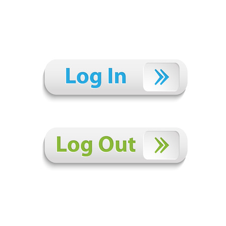 log out: Vector realistic web login and log out buttons isolated on a white background Illustration