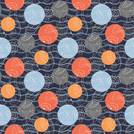 Marine seamless  pattern with color  polka dots